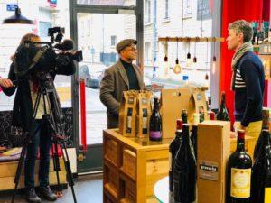 tournage reportage metiers de bouche caviste falaise noel 2018