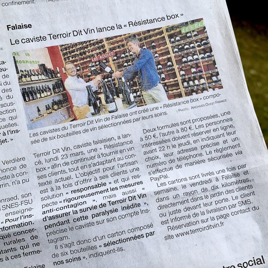 article-terroir-dit-vin-ouestfrance-2avril2020-ResistanceBox-livraison-domicile-sans-contact
